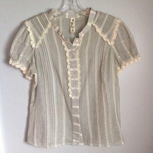 Floreat | Anthropologie Button down crochet blouse